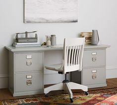 Bedford 4- Drawer Rectangular Desk, Norfolk Gray