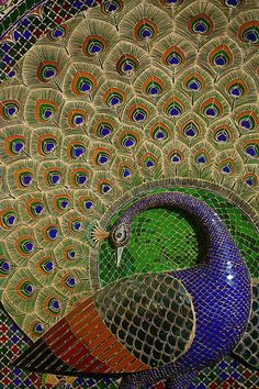 Peacock Mosaics – Mor Chowk – City Palace – Udaipur, India | Mosaic Art Source