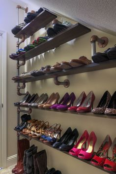 DIY Industrial iron pipe shoe storage system