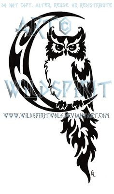 This is 's completed commission of an owl perched on a tribal crescent moon. Please do not copy, trace, alter, or redistribute this anywhere in any way,. Celestial Owl And Moon Tribal Design Tribal Owl Tattoos, Wolf Tattoos, New Tattoos, Tattoos For Guys, Anchor Tattoos, Bird Tattoos, Feather Tattoos, Geometric Tattoos, Owl Stencil