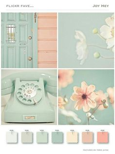 A touch of mint color trend in the home - Jennifer Rizzo Pastel tints color palette mood board Colour Schemes, Color Trends, Color Combos, Colour Palettes, Sage Color Palette, Beach Color Schemes, Silver Color Palette, Summer Color Palettes, Vintage Colour Palette