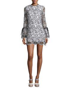 TBPP3 Alexis Rustam Lace Mini Dress, Black/White