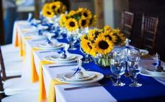 New Brunch Table Decorations Breakfast Center Pieces 64 Ideas Blue Sunflower Wedding, Sunflower Party, Yellow Wedding, Wedding Day, Wedding Sunflowers, Blue Wedding Decorations, Blue Centerpieces, Wedding Table Centerpieces, Centerpiece Ideas