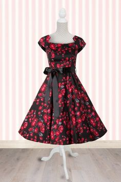 Black and Red Roses Retro 1950s Swing Dress