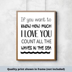 If you want to know how much I love you count all the waves in the sea, sign, boys room ideas, boys room decor, nursery wall art Scripture Signs, Bible Verses, Do It Yourself Decorating, Good Boy Quotes, Boys Room Decor, Kids Decor, Make Your Own Sign, Signs For Mom, Cute Wall Decor