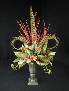Pheasant Feather Berry and Fiddlehead Fern Floral Urn Arrangement