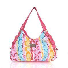 Coach Fashion Signature Medium Pink Shoulder Bags CEO [Coach0A1906] - $71 :