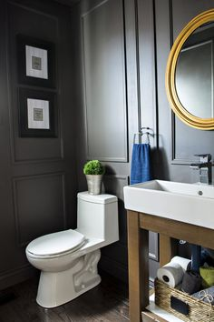 Reveal Dated Powder Room Gets A Moody Makeover Ikea Hack Ikea