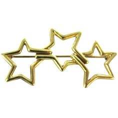 Pre-owned Vintage Tiffany & Co (sign) Pin Brooch Stars 1986 ($1,014) ❤ liked on Polyvore featuring jewelry, brooches, accessories, gold, gold jewellery, vintage pins brooches, star jewelry, pre owned jewelry and vintage gold brooch