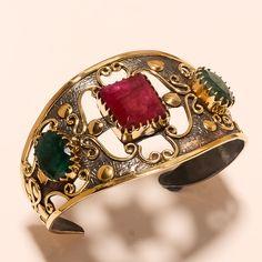 925 Sterling Silver Handcuff African Ruby, Emerald Gemstone Ethnic Retro Jewelry #Handmade #Turkish #ChristmasGift