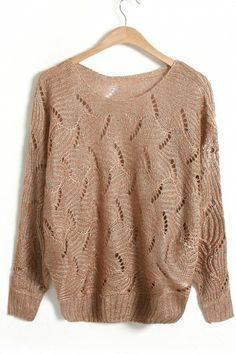 Openwork Dolman Sleeves Sweater
