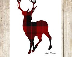 "Printable ""Oh Deer!"" Red Buffalo Plaid Deer Art - Any Size Printable / Instant Download"