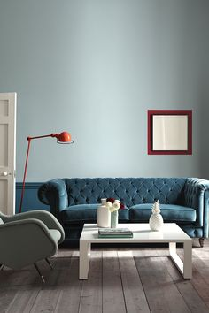 Little Greene Paint, Celestial Blue, Marine Blue, Bronze Red Little Greene Paint, Peinture Little Greene, Living Room Interior, Living Room Decor, Bedroom Decor, Interior Walls, Living Rooms, Deco Cool, Teal Sofa