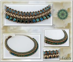 """""""Lizzie"""" Necklace in """"Green Iris"""" color. By Puca"""