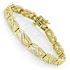 Luxurman Women's 10k Gold Infinity Baguette Diamond 2 4/5ct TDW Bracelet (H-I, SI1-SI2) (10k Yellow Gold)