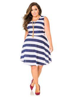 c7e186bb78a Bold Stripe Skater Dress Bold Stripe Skater Dress Fashionable Plus Size  Clothing