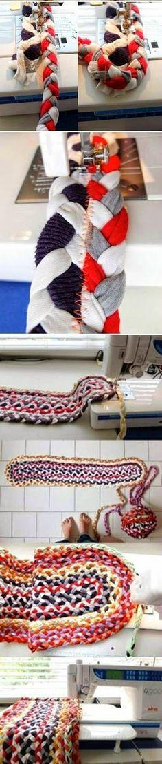 Tappeti fai da te- Riciclo t-shirt - Come fare tappeti riciclando vecchie magliette - I tutorial più belli dal web