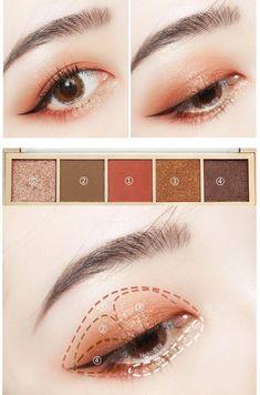 Pin by Hami Nguyen on Beauty in 2019 - make up - Makeup Korean Makeup Look, Asian Eye Makeup, Eye Makeup Steps, Korean Makeup Ulzzang, Korean Makeup Tips, Make Up Tutorials, Korean Makeup Tutorials, Ulzzang Makeup Tutorial, Makeup Inspo