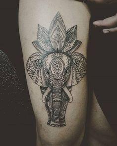 tatuajes de mandalas de proteccion elefante