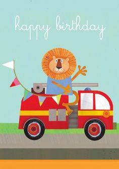 Lion Fire Engine| Children's Birthday Card |SQ1078