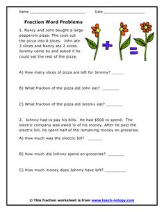 word problems for 3rd graders | Fraction Problem Solving 3rd grade ...
