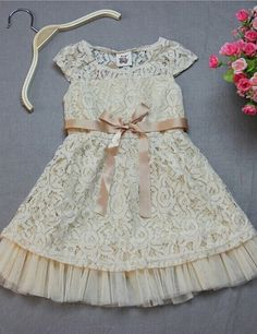 Champagne Cap Sleeves Short with Sash Lace Flower Girl Dress