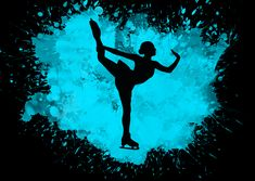 A poster for Displate of an ice-skater mid-twist. Splatter Art, Ice Skaters, Martial Artist, Print Artist, Cool Artwork, Poster Prints, Green, Cool Art