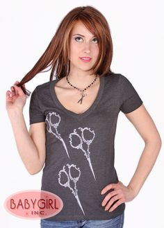 For my hairdresser friends!!!Annex Clothing for Low Brow Art Company - Ornate Shears V-neck T-shirt in Griffin Grey $21.45