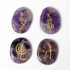 Dog Teeth Amethyst Engraved Chakra Stone Set with Symbols Reiki Healing Crystal