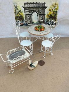 Vintage Iron Wire Dining Room Table And Chairs Dollhouse Furniture