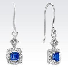 These brilliant earrings are crafted from quality 14 karat white gold and feature two square cut sapphires, at approximately .25 carat TW.  Thirty-two round diamonds at approximately .11 carat TW add sparkle to these gorgeous earrings.  The total gem weight for the pair is approximately .36 carat.