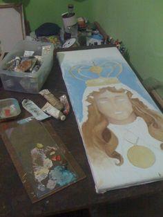 proceso de la Virgen del Valle Oleo Sobre tela.
