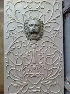 3d cnc carved stone lion head wall panel will highlight an area of the building wall or garden.