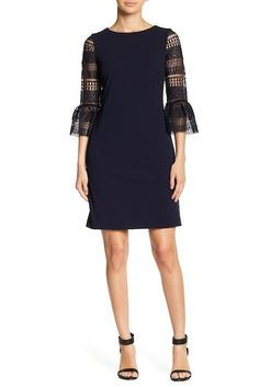 Image of Donna Ricco 3/4 Length Bell Sleeve Dress