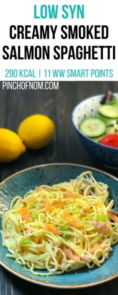 Low Syn Creamy Smoked Salmon Spaghetti | Pinch Of Nom Slimming World Recipes 290 kcal | 1 Syn | 11 Weight Watchers Smart Points