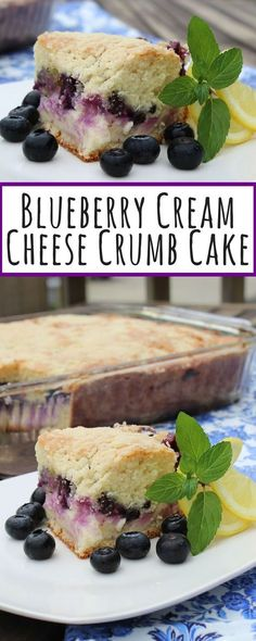 """""""Yum! This blueberry crumb cake is delightful. The cake dense and slightly sweet. You get a great surprise when you bite in and taste the cream cheese and blueberries in the middle."""" #dessertrecipes"""