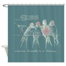 Pretty Birds Vintage Shower Curtain for