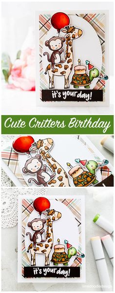 Cute critters birthday card by Debby Hughes to celebrate Neat & Tangled's birthday. Daughter Birthday Cards, Birthday Cards For Her, Handmade Birthday Cards, Birthday Greeting Cards, Birthday Yard Signs, 5th Birthday, Birthday Wishes, Handmade Card Making, Handmade Cards