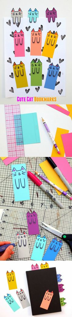 Instead of using random scraps of paper, whip up these super colorful and cute kitty themed DIY bookmarks out of paint chips! #cat #kids #read #school #classroom #teacher #activity #craft #make #gifts #mom
