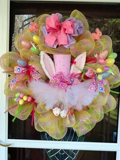 Easter Bunny Hat mesh Wreath by WreathsEtc on Etsy, $155.00