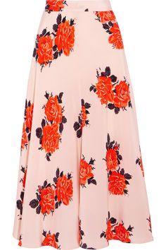 GANNI - Harness Floral-print Silk Crepe De Chine Midi Skirt - Pastel pink - DK40