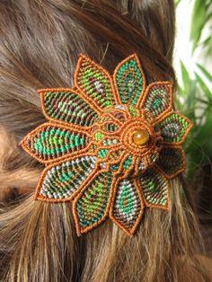 Pinza de pelo hecho a mano HIppie flor grande pelo