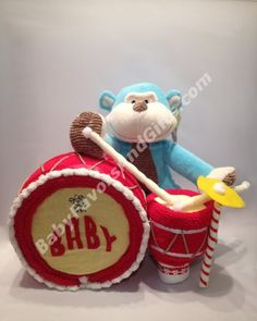 Drummer Baby Diaper Cake - Baby Boy - Diaper Cakes - by Babyfavorsandgifts #babyshowergifts
