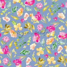 Blue Watercolor Flor
