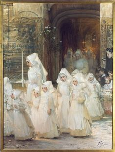 Procession of Young Girls on Confirmation Day, L'hopital de Beaune, 1906 (oil on canvas)
