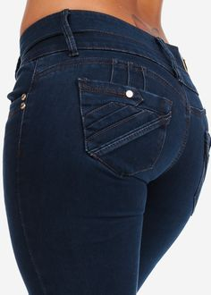 Dark Blue Wash Butt Lifting Skinny Jeans