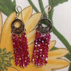 DesigningCrystal.com ::: Fuschia Dreamcatcher #Swarovski Crystal Earrings ~ You will feel the sparkle as these gorgeous crystals catch the light. Our #Dreamcatcher #earrings are available in 3 lengths... buy 2 and receive a 3rd pair FREE! #jewelry