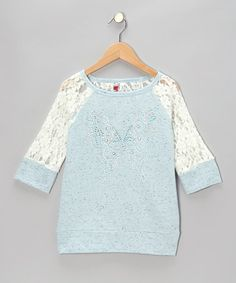 Take a look at this Blue Butterfly Lace-Sleeve Raglan Top by Beautees on #zulily today!