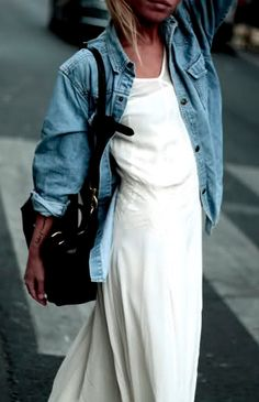 Love the denim jacket over this white summer dress!