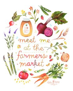 Art // This is the sweetest art print by Katie Daisy. It isn't summer without a famers market! I need to go again soon so I can make some peach jam or…